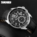 นาฬิกา SKMEI สายหนังสีดำคุณภาพดี หน้าปัดดำ สวยเท่ห์คลาสสิค