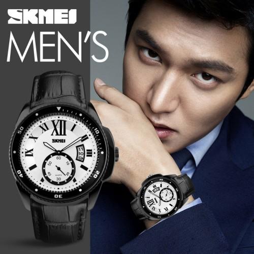 นาฬิกา SKMEI สายหนังสีดำคุณภาพดี หน้าปัดขาว สวยเท่ห์คลาสสิค