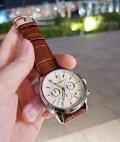 นาฬิกา CUENA หน้าปัดสีขาว สายหนังแท้สีน้ำตาล สวยหรูมาก