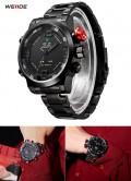 นาฬิกายี่ห้อ WEIDE เรือนใหญ่สองระบบ Analog + Digital สีดำ