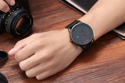 นาฬิกา GIMTO สายหนังดำ หน้าปัดดำ สไตล์ minimalist