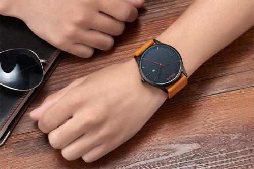 นาฬิกา GIMTO สายหนังน้ำตาล หน้าปัดดำ สไตล์ minimalist