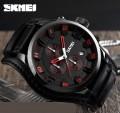 นาฬิกาสายหนังแท้สีดำจาก SKMEI หน้าปัดดำเข็มแดง