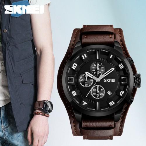 นาฬิกาสายหนังแท้สายน้ำตาลจาก SKMEI หน้าปัดดำ