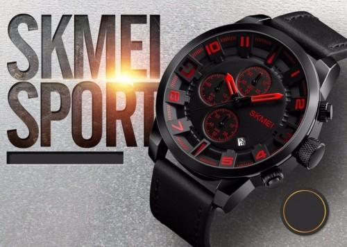 นาฬิกา SKMEI สายหนังแท้สีดำ หน้าปัดดำเข็มแดง เท่ห์มาก