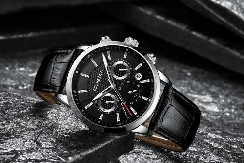 นาฬิกา CUENA หน้าปัดสีดำ สายหนังแท้สีดำ สวยหรูมาก