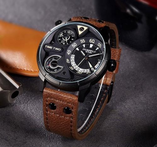 นาฬิกา EYKI เรือนใหญ่ สายหนังน้ำตาล หน้าปัดดำ เข็มบอกเวลา 2 วง