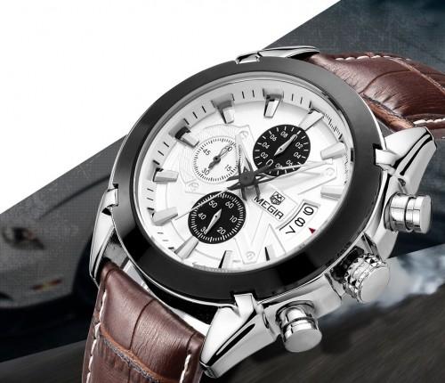 นาฬิกาสุดเท่ห์จาก MEGIR สายหนังแท้สีน้ำตาล หน้าปัดขาว สวยมาก!
