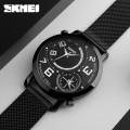 นาฬิกา SKMEI สีดำ หน้าปัดดำ สายแพอย่างดี เข็มบอกเวลา 2 วง