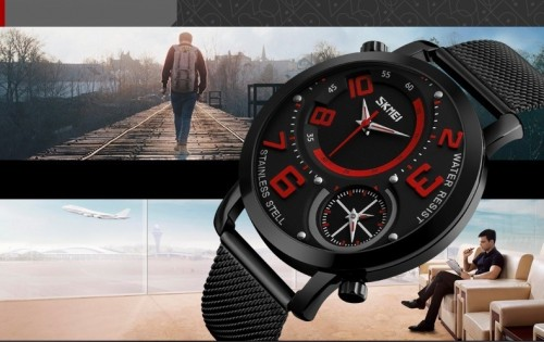 นาฬิกา SKMEI สีดำ หน้าปัดดำแดง สายแพอย่างดี เข็มบอกเวลา 2 วง