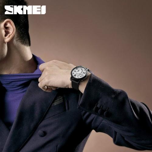 นาฬิกา SKMEI สีดำ หน้าปัดขาว สายแพอย่างดี เข็มบอกเวลา 2 วง
