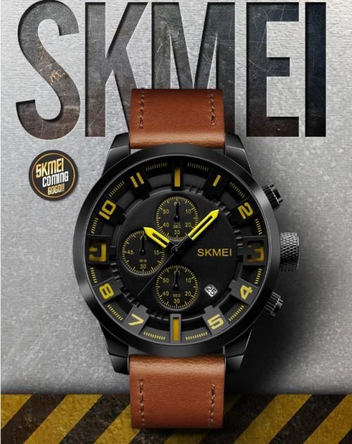นาฬิกา SKMEI สายหนังแท้สีน้ำตาล หน้าปัดดำ เท่ห์มาก