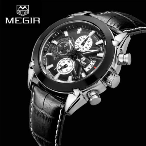 นาฬิกาสุดเท่ห์จาก MEGIR สายหนังแท้สีดำ หน้าปัดดำ สวยมาก!