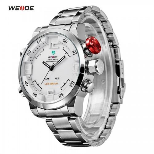นาฬิกายี่ห้อ WEIDE เรือนใหญ่สองระบบ Analog + Digital สีขาว