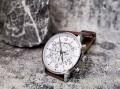 นาฬิกา CUENA หน้าปัดสีขาว สายหนังแท้สีน้ำตาล หน้าปัดสวยมีรายละเอียด