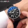 นาฬิกา CUENA หน้าปัดสีดำ สายหนังแท้สีดำ หน้าปัดสวยมีรายละเอียด