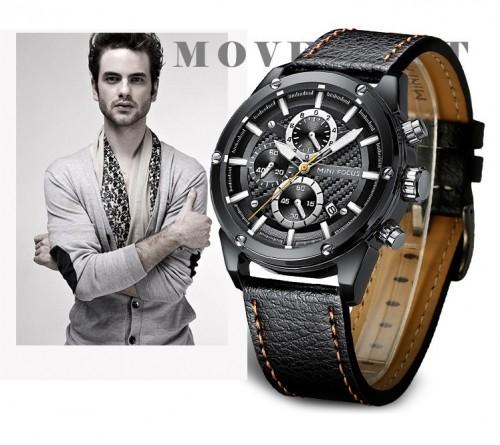 นาฬิกา Mini Focus สุดเท่ห์ หน้าปัดเทา สายหนังแท้สีดำ สวยมาก