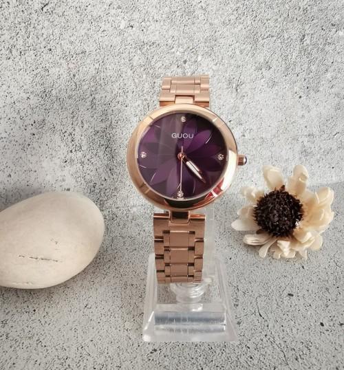 นาฬิกา GUOU หน้าปัดกลมสีม่วง ลายกลีบดอกไม้ สวยมาก