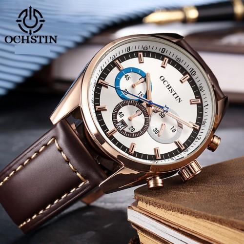 นาฬิกา Ochstin หน้าปัดสีขาว สายหนังแท้สีน้ำตาล สวยมีสไตล์มาก