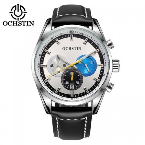 นาฬิกา Ochstin หน้าปัดสีขาว สายหนังแท้สีดำ สวยมีสไตล์มาก