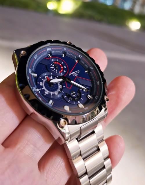 นาฬิกา NIBOSI หน้าปัดสีน้ำเงิน สายสีเงินด้าน สวยหรู เท่ห์มาก