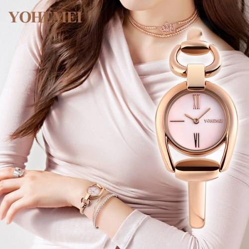 นาฬิกา Yohemei ดีไซน์กึ่งกำไล หน้าปัดมุขชมพู