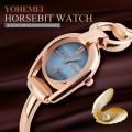 นาฬิกา Yohemei ดีไซน์กึ่งกำไล หน้าปัดมุขดำ