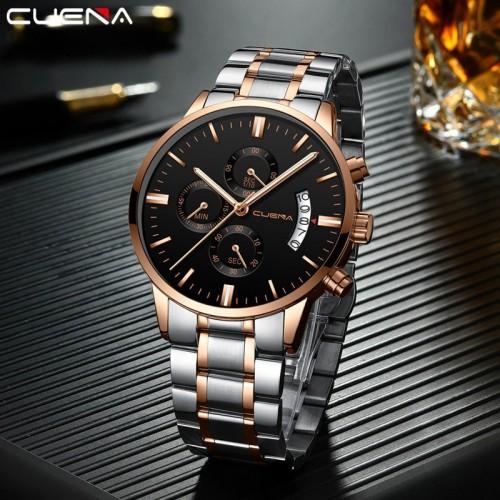 นาฬิกา CUENA หน้าปัดสีดำ สายสีเงิน สวยหรู คุณภาพเยี่ยม