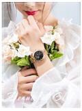 นาฬิกา GUOU หน้าปัดกลมสีดำ ลายกลีบดอกไม้ สวยมาก