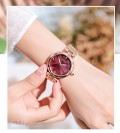 นาฬิกา GUOU หน้าปัดกลมสีแดง ลายกลีบดอกไม้ สวยมาก
