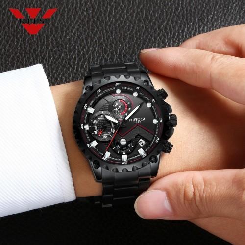 นาฬิกา NIBOSI หน้าปัดสีดำลายแดง สายสีดำ สวยหรู เท่ห์มาก