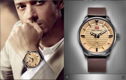 นาฬิกา Mini Focus สายหนังสีน้ำตาลคุณภาพดี หน้าปัดสีเบสเข้ากัน