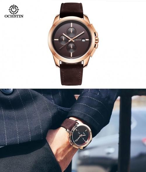 นาฬิกา Ochstin หน้าปัดสีน้ำตาล สายหนังแท้สีน้ำตาลเข้ม สวยเรียบหรู