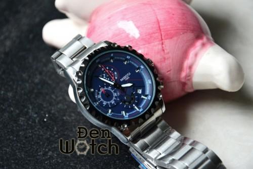 นาฬิกา NIBOSI หน้าปัดสีน้ำเงิน สายสีเงิน สวยหรู เท่ห์มาก