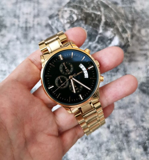 นาฬิกา CUENA หน้าปัดสีดำ สายสีทอง สวยหรู คุณภาพเยี่ยม