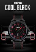 นาฬิกา SKMEI สายหนังสีดำแดง หน้าปัดดำแดง เท่ห์มาก
