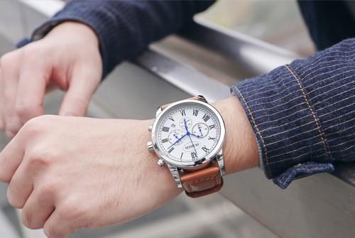 นาฬิกา Ochstin หน้าปัดสีขาว สายหนังสีน้ำตาล สวยหรู