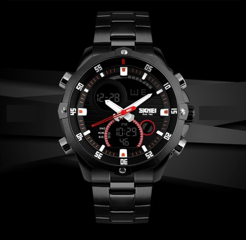 นาฬิกายี่ห้อ SKMEI สองระบบ Analog + Digital หน้าปัดดำ สายดำ