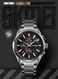 นาฬิกา SKMEI เรือนใหญ่ หน้าปัดสีดำ+rose gold สายสีเงิน สวยหรู