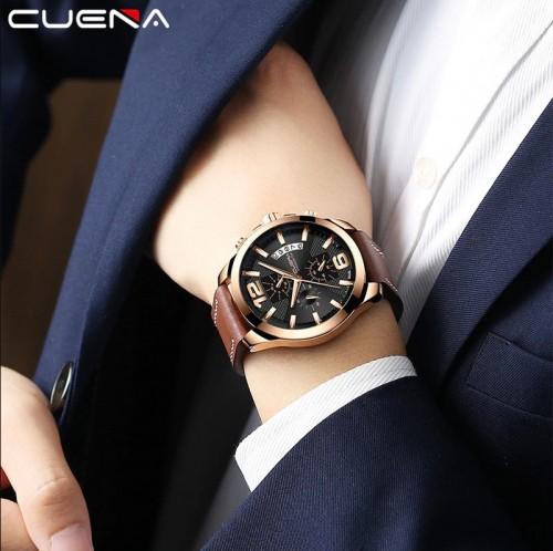 นาฬิกา Cuena หน้าปัดสีดำ+rose gold สายหนังแท้สีน้ำตาล สวยสุดๆ