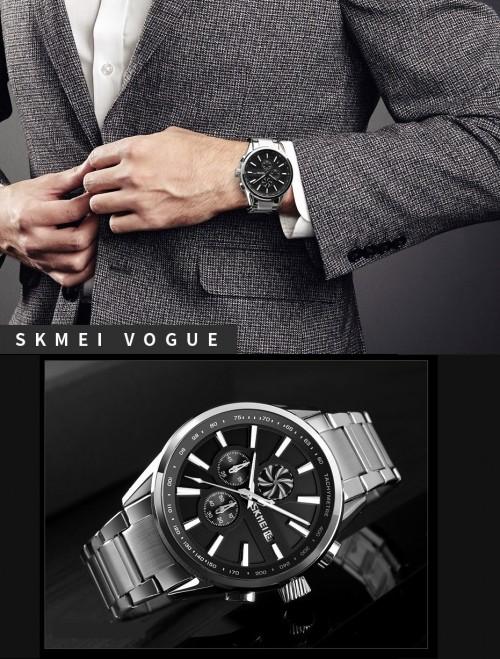 นาฬิกา SKMEI เรือนใหญ่หน้าปัดสีดำ สายสีเงิน สวยหรูมาก