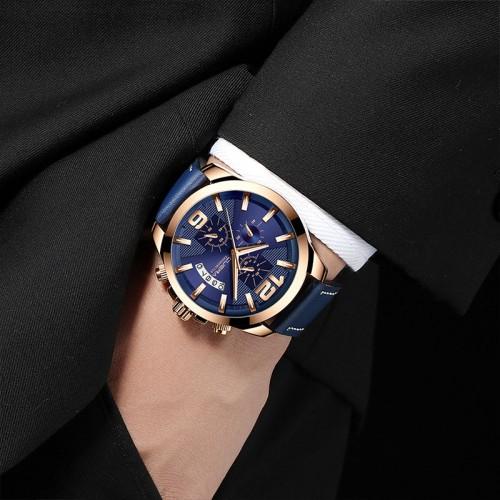 นาฬิกา Cuena หน้าปัดสีน้ำเงิน+rose gold สายหนังแท้สีน้ำเงิน สวยสุดๆ