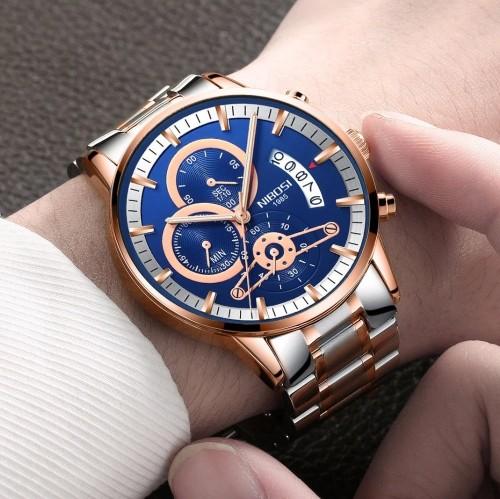 นาฬิกา NIBOSI หน้าปัดสีน้ำเงิน+rose gold สวยหรู คุณภาพเยี่ยม
