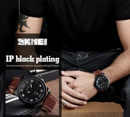 นาฬิกา SKMEI สายหนังสีน้ำตาล หน้าปัดดำ เท่ห์มาก