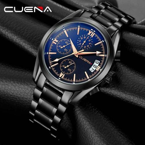 นาฬิกา CUENA สีดำ + โรสโกลด์ สายสแตนเลส สวยหรู