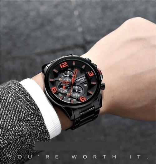 นาฬิกา NIBOSI หน้าปัดสีดำลายส้ม สายสีดำ สวยหรู เท่ห์มีสไตล์