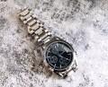 นาฬิกา CUENA หน้าปัดสีดำ กระจกสะท้อนแสงสีฟ้า พร้อมสายสแตนเลส
