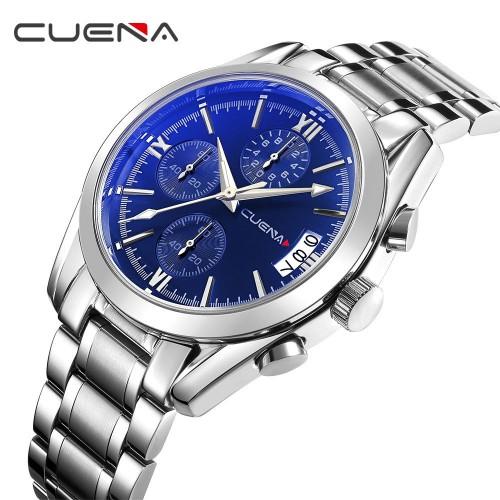 นาฬิกา CUENA หน้าปัดน้ำเงินเข้ม กระจกสะท้อนแสงสีฟ้า พร้อมสายสแตนเลส