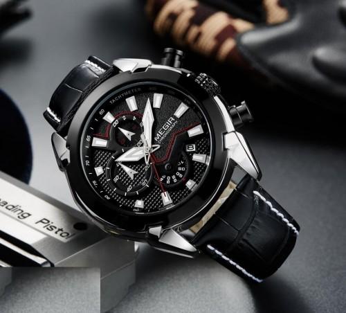นาฬิกาสุดเท่ห์จาก MEGIR สายหนังแท้สีดำ หน้าปัดดำ สวยเท่ห์ดุ!