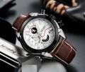 นาฬิกาสุดเท่ห์จาก MEGIR สายหนังแท้สีน้ำตาล หน้าปัดขาว สวยเท่ห์!